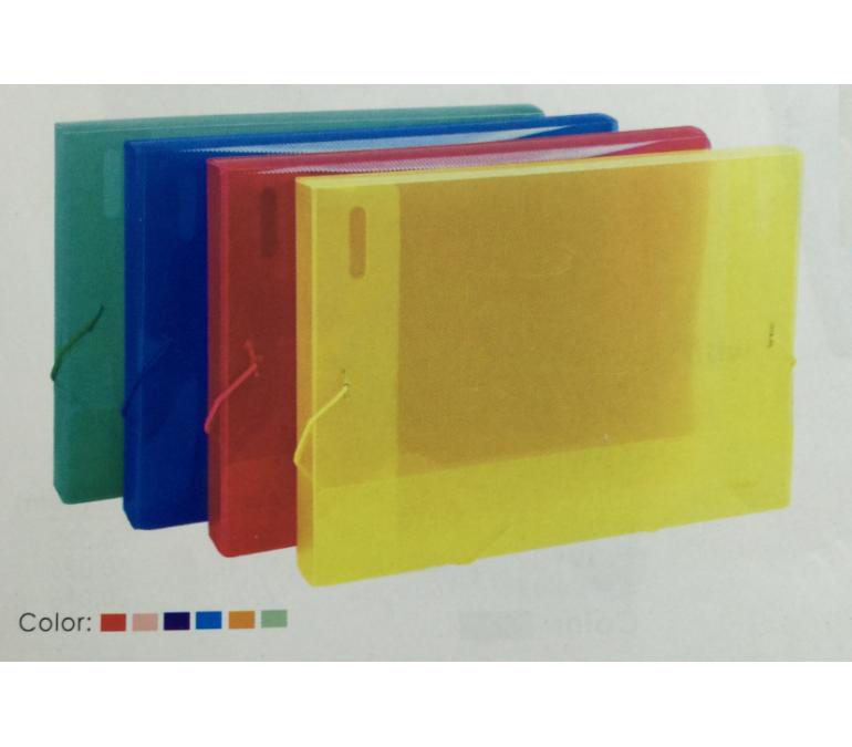Dosje plastike transparente A4 me ngjyra me llastik